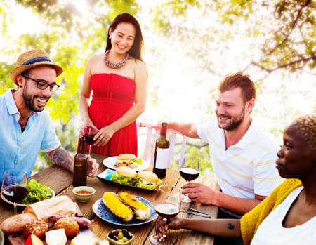 woman outdoor: Diverse People Friends Hanging Out Party Concept