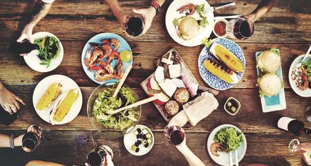 Cibo, Tavolo delizioso pasto Preparare cucina Concetto Archivio Fotografico