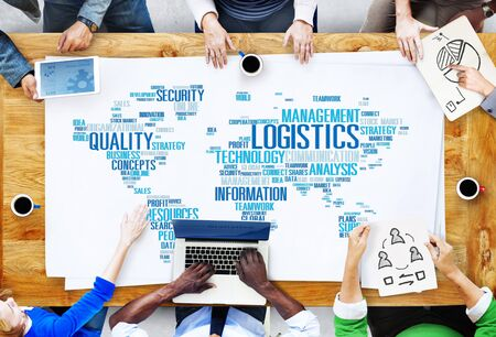 logistics world: Logistics Management Freight Service Production Concept Stock Photo