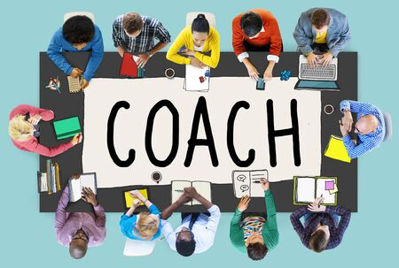 business team:  Coaching Guide Instructor Leader Manager Tutor Concept