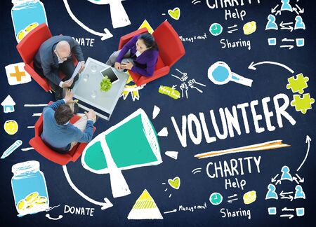 give charity: Volunteer Charity Help Sharing Giving Donate Assisting Concept