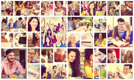 diversity people: Diverse People Students Start Up Collage Concept