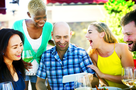 luncheon: Diverse People Luncheon Outdoors Food Friendship Concept