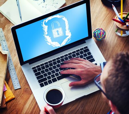 computer monitor: Brainstorming Unlock Human Resource Thinking Concept Stock Photo