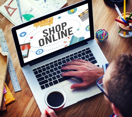 ショップ オンライン電子商取引マーケティング ビジネス コンセプト 写真素材