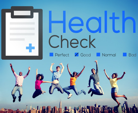 Health Check Insurance Check Up Check List Medical Concept Banco de Imagens
