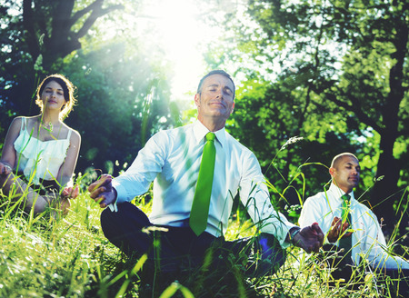 Working Environment: Business People Meditating Nature Relaxation Concept