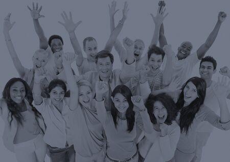 teamwork people: Large People Celebrating Teamwork Collaboration Concept