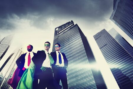 business challenge: Superhero Business People Strength Cityscape Cloudscape Concept