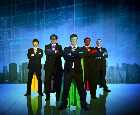 business leadership: Superhero Business People Strength Cityscape Stock Exchange Concept