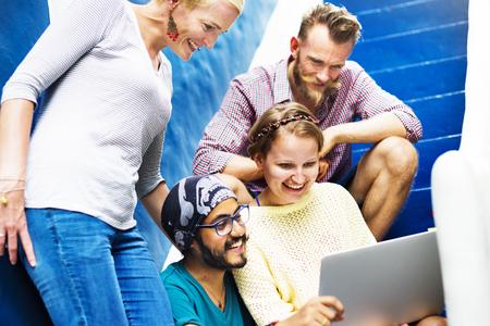 comunidad: Conexión Amigos Comunidad Discusión Trabajo en equipo Concepto