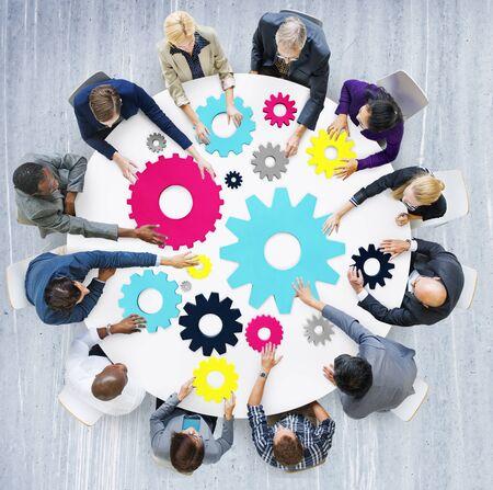 teamwork concept: Gear Connection Corporate Team Teamwork Meeting Concept