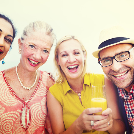 Diverse Neighbors Drinking Party Concept Zdjęcie Seryjne
