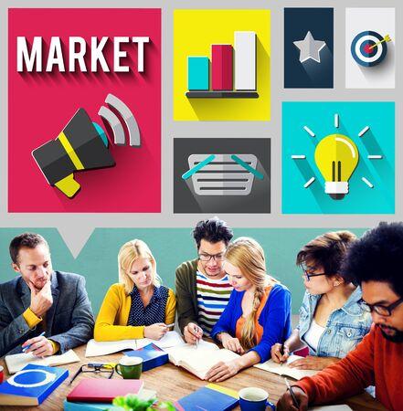 consumerism: Market Consumerism Marketing Product Branding Concept Stock Photo