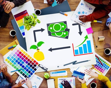 cash cycle: Invest Investment Accounting Money Financial Concept Stock Photo