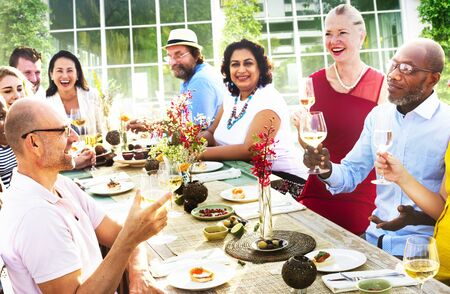 luncheon: Diverse People Luncheon Food Summer Concept Stock Photo
