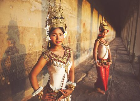 southeast asian ethnicity: Traditional Aspara Dancers Siem Reap Cambodia Concept Stock Photo