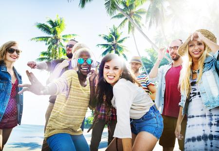Vrienden Summer Beach Party Dansen Concept