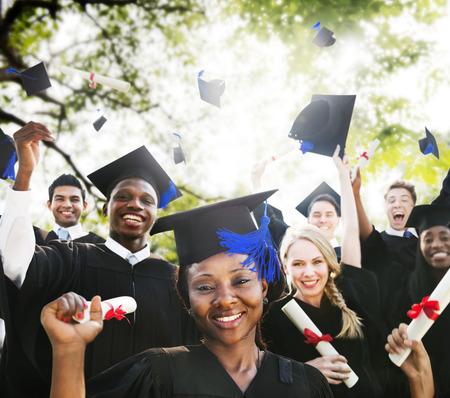 diverse students: Diversity Students Graduation Success Celebration Concept