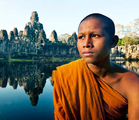 traditional culture: Contemplating Monk Angkor Wat Siem Reap Cambodia Stock Photo