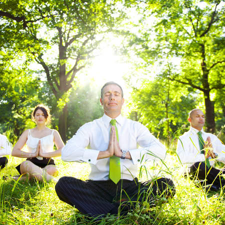 sitting meditation: Business People Meditating Nature Relaxation Concept