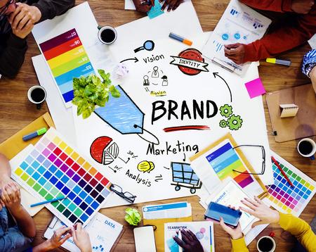 Diverse Mensen Luchtfoto Vergadering Marketing Merk Concept Stockfoto