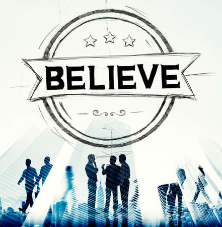 worship white: Believe Hope Inspiration Religion Worship Concept Stock Photo