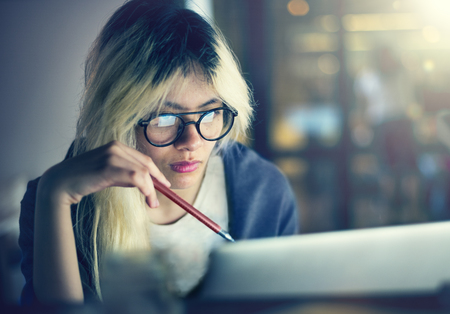 Woman Laptop Working Planning Thinking Concept