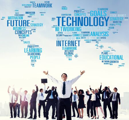 high tech world: Technology Networking Connection Global Communication Concept Stock Photo
