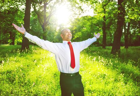 refreshing: Business Relaxation Refreshing Freedom Nature Concept