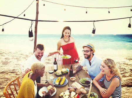dining out: Friends Friendship Outdoor Dining People Concept Stock Photo