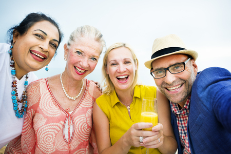Diverse Neighbors Drinking Party Concept Stock Photo