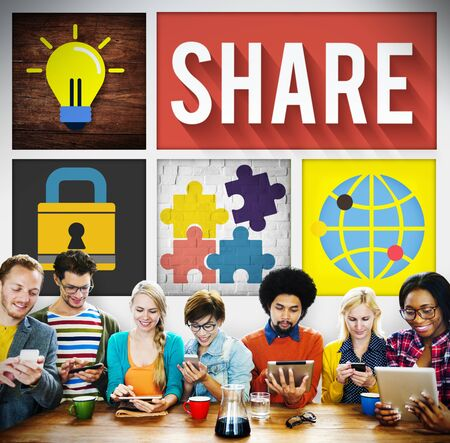 participate: Share Sharing Social Networking Participate Concept Stock Photo