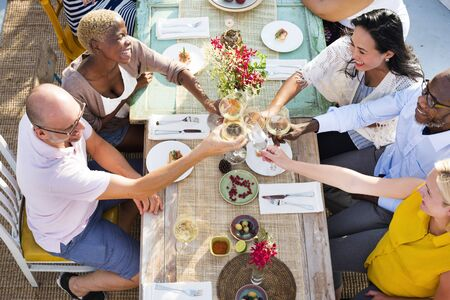 hanging out: Diverse People Hanging Out Drinking Concept Stock Photo