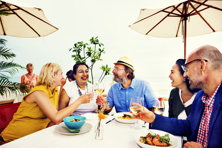 restaurant dining: Diversity Friends Hanging out Party Dining COncept