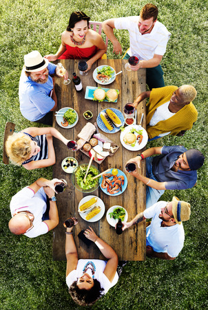 diverse women: Friends Friendship Outdoor Dining Hanging out Concept