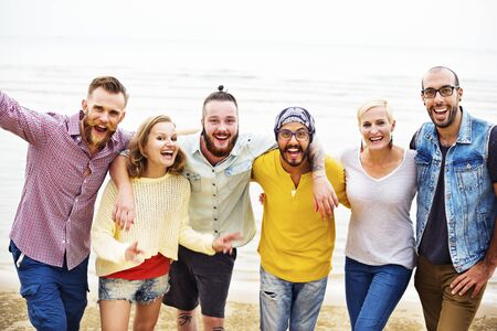 diversity people: Friends Friendship Huddle Vacations Happiness COncept