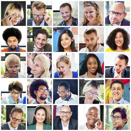 visage: Collage diverse doit faire face Groupe personnage Banque d'images