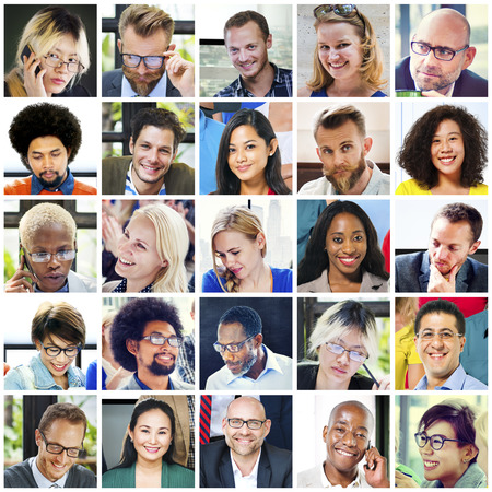 diversity people: Collage Diverse Faces Group People Concept Stock Photo