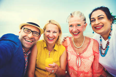 restaurant people: Diversity Friends Selfie Happiness Hanging out COncept Stock Photo