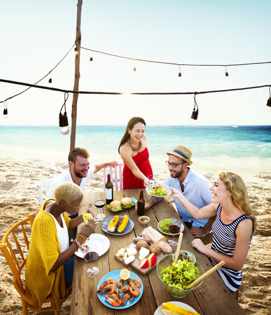 dining out: Friends Dining Summer Beach Party Cheerful Concept