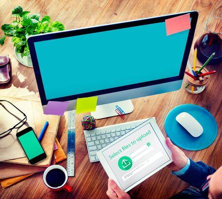 uploading: Businessman Working Brainstorming Planning Uploading Concept Stock Photo