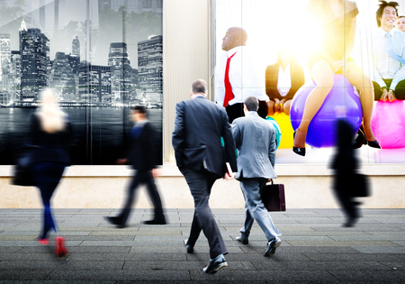 hustle: Business People Walking Commuter Travel Motion City Concept Stock Photo