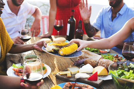 sumptuous: Diverse People Luncheon Food Sharing Concept