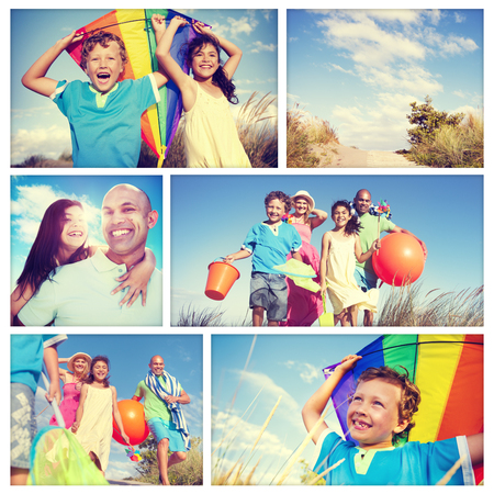 family fun: Family Running Playful Vacation Travel Holiday Concept
