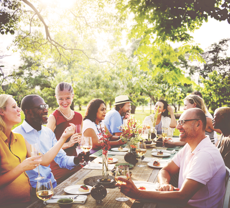 party people: Friends Friendship Outdoor Dining People Concept Stock Photo