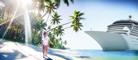 cruise travel: Couple Romance Beach Love Island Concept