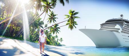 romances: Couple Romance Beach Love Island Concept