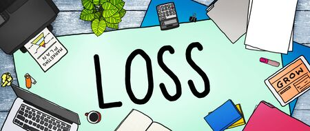 messy office: Loss Risk Debt Economy Finance Concept
