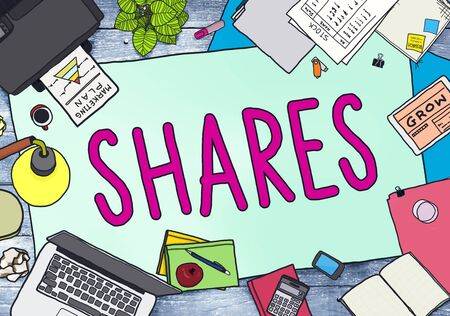office stuff: Shares Sharing Help Give Dividend Concept Stock Photo